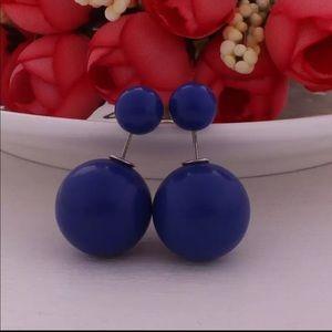 Cobalt Blue Double Pearl Stud Earrings